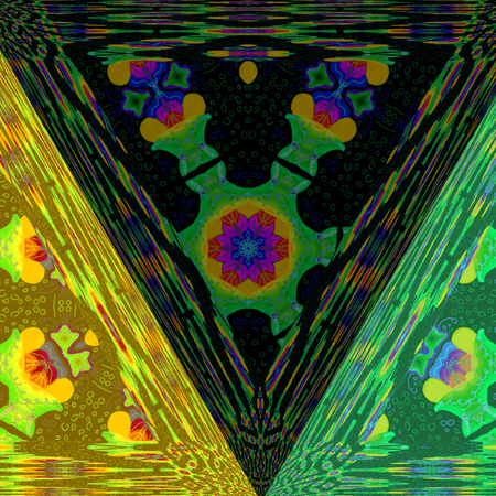 triangle multicolor dark background transparent effect close up