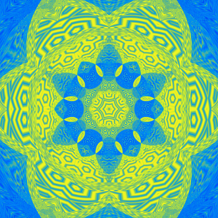 Gaudy abstract ornament colorful tile mandala in blue marina and yellow Imagens