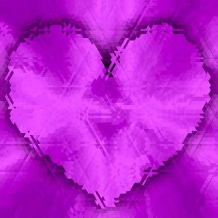 Ultra violet gradient background with violet purple polygonal heart shining effect