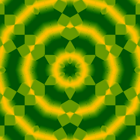 shining native indian ornamental mandala in neon green and yellow