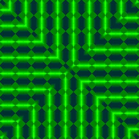 digital fantasy design of modern dark fractal square with neon green lines frame