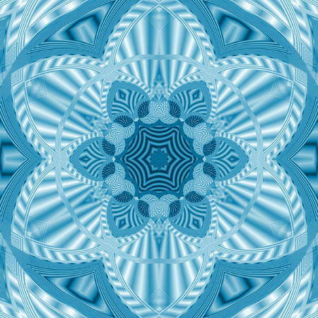Abstract blue kaleidoscope picture with circle floral triangle pattern