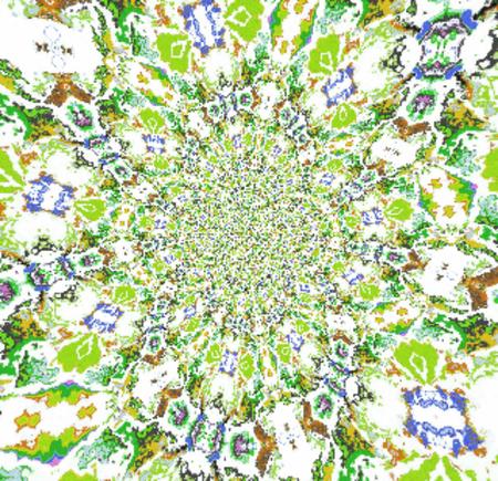 Kaleidoscopic ornamental watercolor pattern fractal blur effect