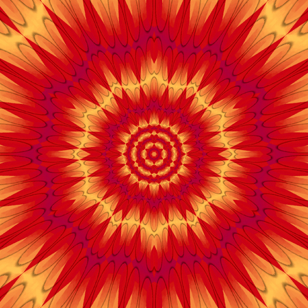 Psychedelic centralized mandala in form of red sun shaped mandala design with orange rays