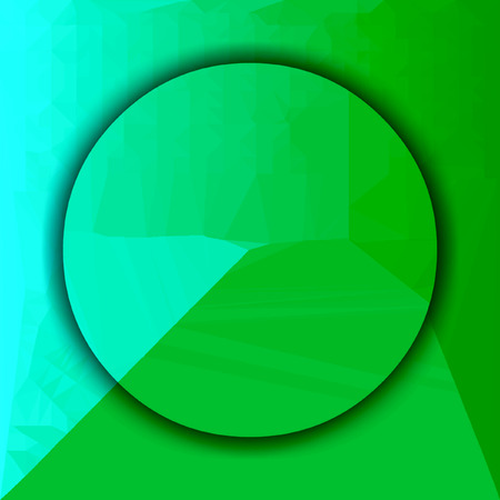 green and teal circle background in center with light triangle structure. Copy space. Banco de Imagens