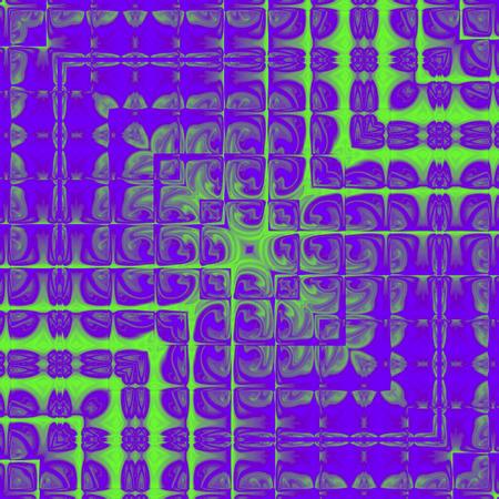 digital fantasy design of modern ultra violet fractal square with neon green lines and square frame