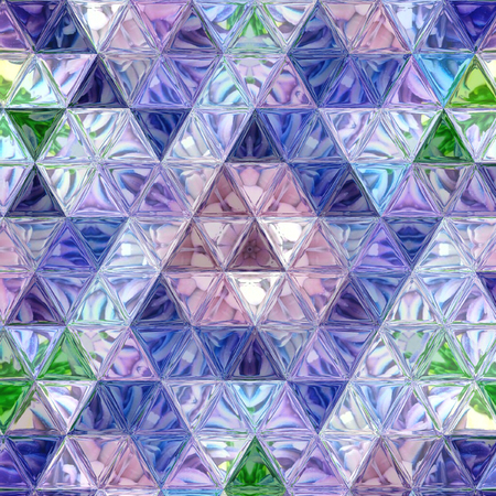 Triangle mosaic pattern in violet, green and blue colors