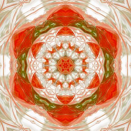 Vintage ornament orange red tile mandala, autumn maple color with white rays