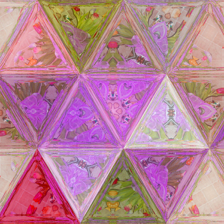 triangle pastel multicolor background, spring picture for card or banner