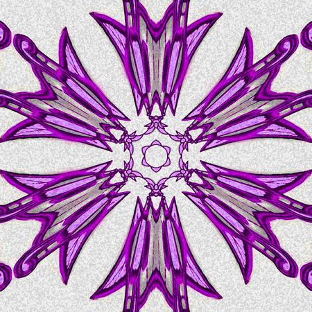 Symmetrical violet aster or cornflower, circular snowflake pattern. Фото со стока