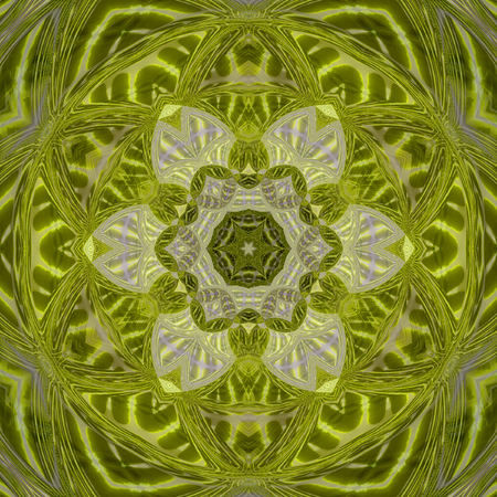 Green and yellow mandala symbol of nature