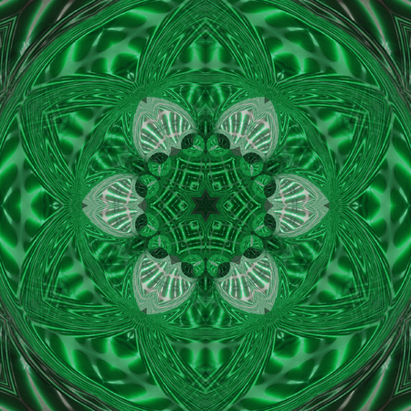 Abstract black and green circular wheel of light with green curved triangle mandala