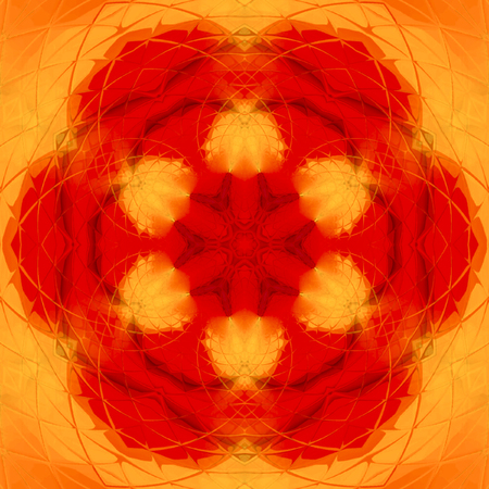 Abstract orange painted kaleidoscope,  fire mandala picture