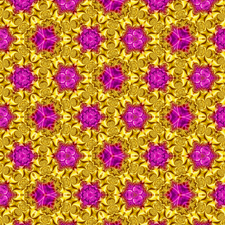 Oriental golden continuous pattern with violet mosaic on golden background with effect of silk Imagens