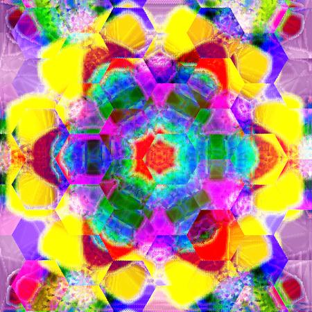 gaudy hexagonal mandala in watercolors technique