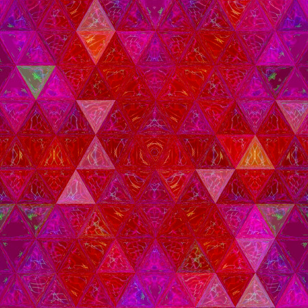 abstract triangle mosaic pattern in going grenadine and violet colors