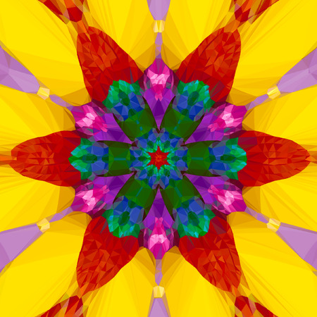 tropical fruits kaleidoscope bright mandala