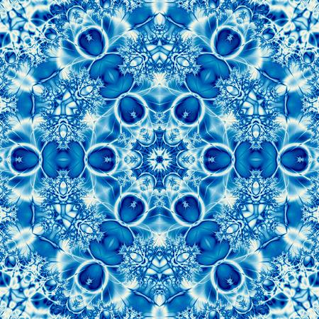 blue marina tile mandala with effect of embroidery arabesque Banco de Imagens