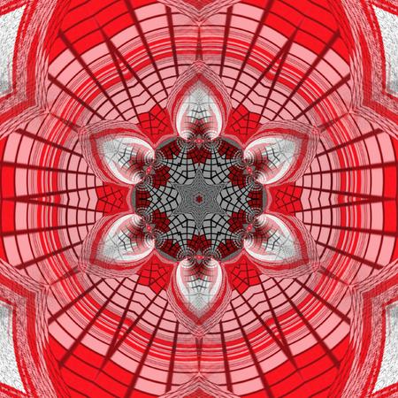 Kaleidoscopic Strawflower Mandala in red and grenadine