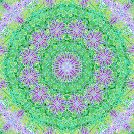 Digitally created mandala suitable for meditational in light green and teal colors