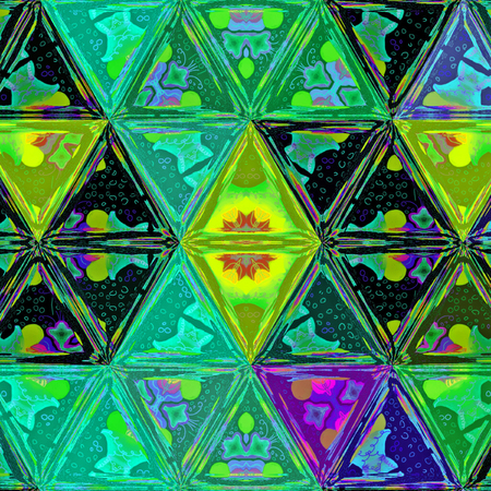 Background of colorful triangles in neon gaudy colors