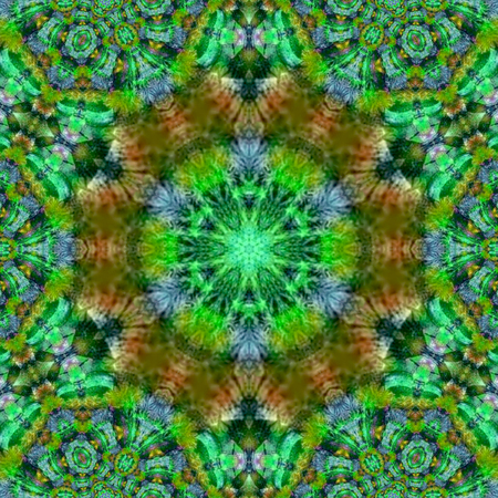 wreath summer mandala in green colors
