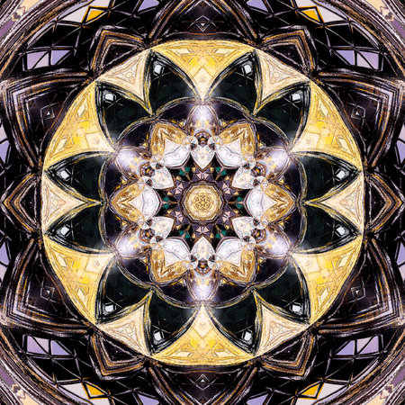 Ornamental triangle tile round mandala pattern Stock Photo
