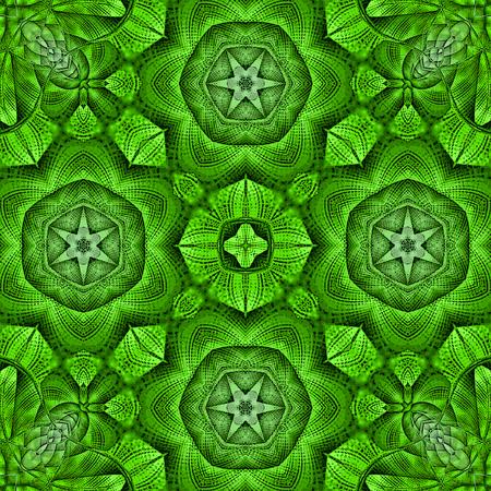 Kaleidoscopic mosaic green tile pattern Stock Photo