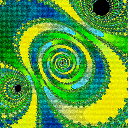 tapestries blue, yellow  and green pattern