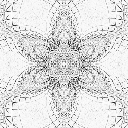 tile mandala monochrome abstract flower Stock Photo