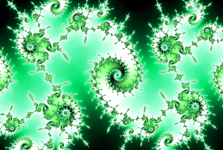 Spirals and curving streaks fractal abstract background in going green and teal