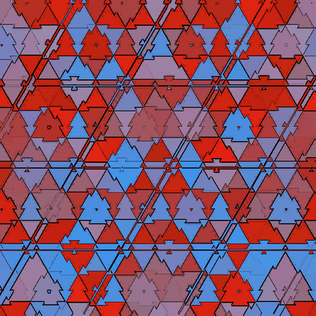 pattern of small triangles in red and blue colors