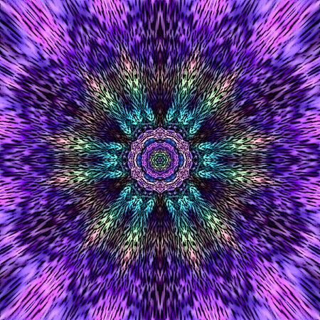 Colorful ultra violet and indigo mandala with Buddha-Face inside Stock Photo