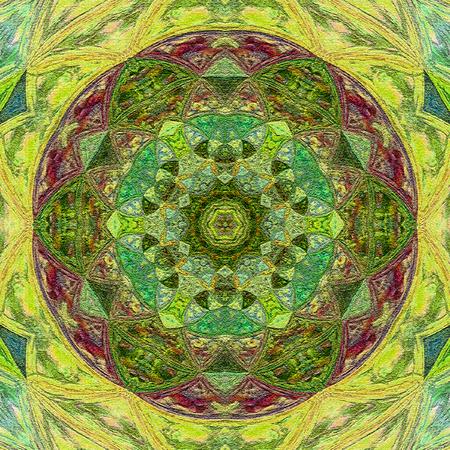 Beautiful Deco  colorful Contour Mandala, Patterned Design Element, Ethnic Amulet Stock Photo