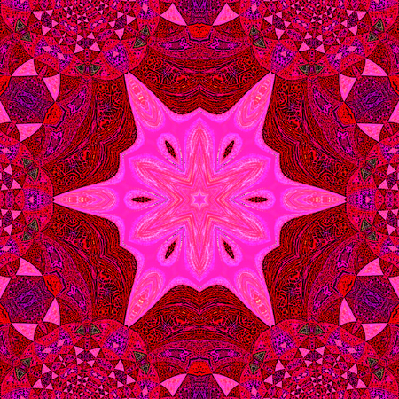 Pink and grenadine mandala with glitter on a grenadine background