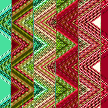 Triangles geometric pattern with grunge effect in green, pink and teal