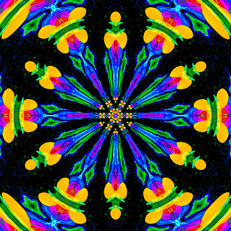 graffiti mandala. Flower, ornament in bright neon colors