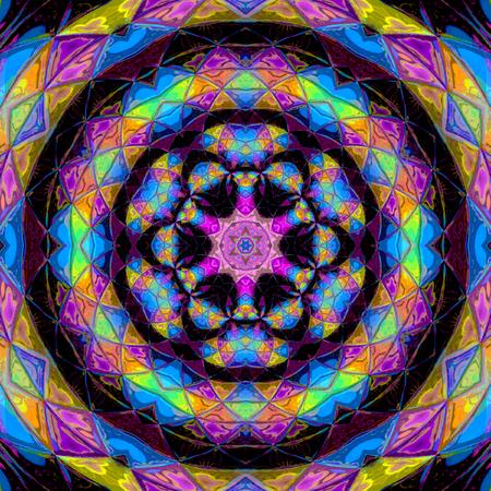 Rainbow funny mandala or indigo arabesque