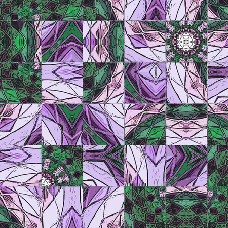 Green and violet abstract floral background with frame