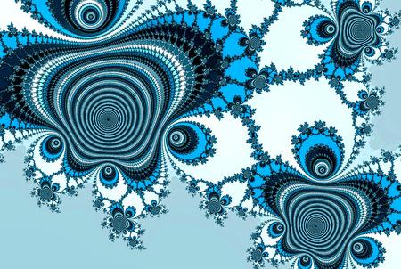 Blue fractal in vintage style on white background. Fractal teal pattern. Blue sky