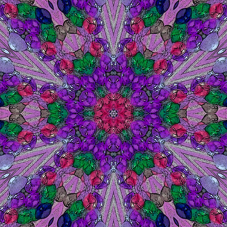 kaleidoscope of arabesque mandala in gaudy colors