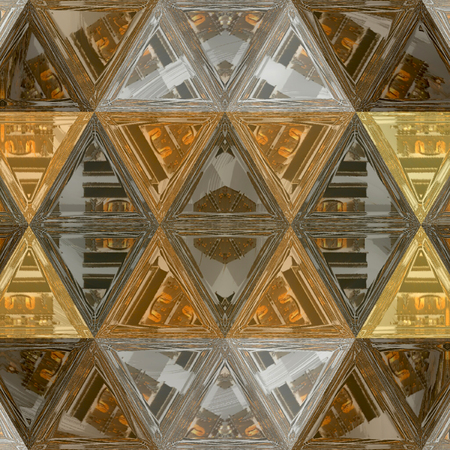 stained glass mosaic of transparent triangles in golden and brown