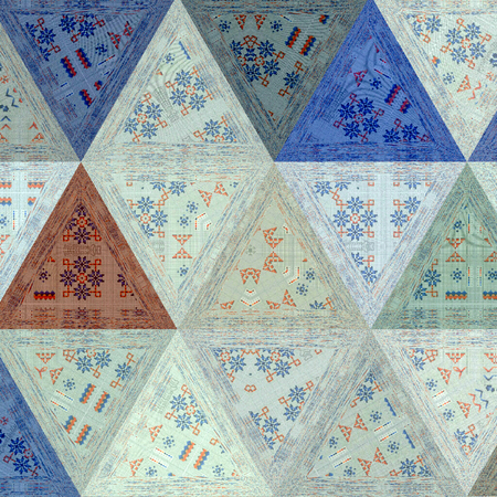 traingles mosaic with effect of embroidery under transparent mosaic