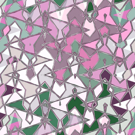 abstract thin pattern with zigzag and watercolors droplets in green and pink
