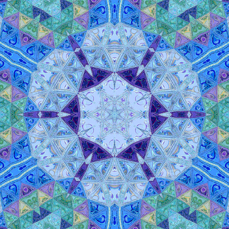 Triangles kaleidoscope tile pattern on light backdrop. Composed in blue sky and indigo Stock Photo