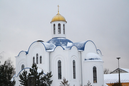 Orthodox old church with woman monastery in Belarus