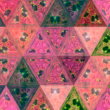 pink triangles with teal droplets, continuous pattern for wallpaper or textile