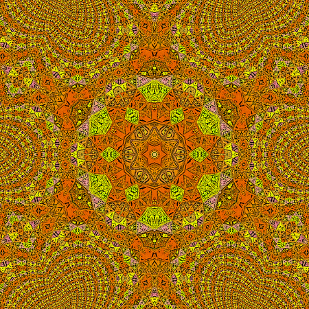 orange and ocher mandala with seashell and swirl elements 版權商用圖片