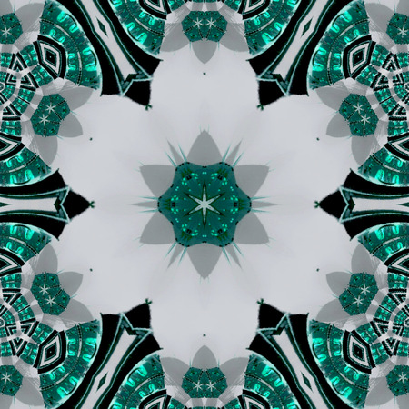 white flower arabesque on transparent glass elements of teal and turquoise colors of the sea Reklamní fotografie