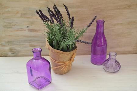 Vintage rustic packaging with purple lavender for concept design. France, provence. Garden flower. Herbal medicine. Banco de Imagens